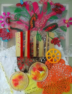 Composition with Oranges. 2013. Mixed media on canvas and acrylic. 21 x 25 in