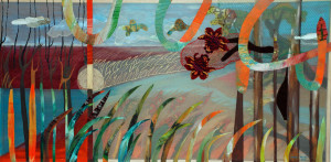 Searching Paradise. 2010. Acrylic and fabric stitched on silk. 45.5 x 25.5 in