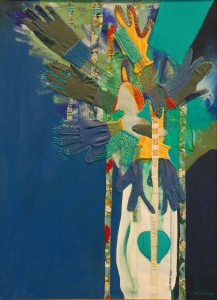 The blue tree. 2008. Acrylic and mixed media material stitched on canvas. 32.5 x 42 in