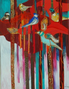 The tree of birds. 2009. Oil and fabric stitched on canvas. 31 x 41 in