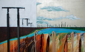 Towers. 2012. Acrylic ,fabric and wood on canvas. 4 feet x 30 in