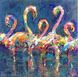 SOLD Diane Delorey Flamingos at Midnight - 12x12
