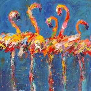 SOLD Diane Delorey Flamingos in Blue 12x12 -