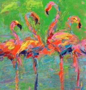 Diane Delorey Flamingos in Green- 12x12