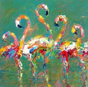 SOLD Diane Delorey Flamingos in Sea Foam - 12x12
