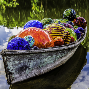 Larry Levine Glass Ball Boat 30x30